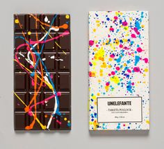 c0b09ed85e Edible Crayon and Paint-Splattered Chocolate Bars by Unelefante http   www.