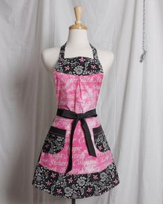 Vintage inspired retro apron black white and pink Breast Cancer pink ribbon hope faith