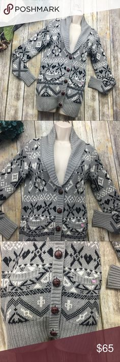 🎈RARE🎈 Victoria Secret Pink Gray Shawl Cardigan Absolutely gorgeous gray and white winter shawl cardigan. In excellent used condition. Size small. Has 2 pockets in the front. Buttons from chest down. Cotton nylon and viscose material. 27 inches long. 18 inch bust line laying flat without stretching material. PINK Sweaters Cardigans