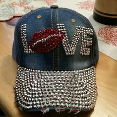 57f62728cee BLINGED OUT LOVE BASEBALL CAP This cap is gorgeous! All BLINGED out! Brand  new