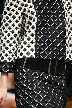 Innovative textiles design for fashion with 3D structural tile patterns using cut, fold & repetition - fabric manipulation; monochrome origami fashion // Chanel