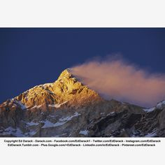 Makalu at Sunset, West Face of Makalu, Alpenglow, Extreme Wind Forming Banner Cloud off Summit. Photographed from approximately 16,000 feet, above the mountain's base camp. At 27,825 feet above sea level, Makalu is the planet's fifth highest mountain. Eastern Nepal. Mountain Weather, Mountain Photographs, Mountain Photos. Copyright Ed Darack