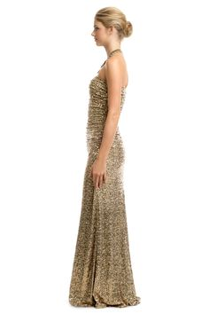 Gold Glitterati Gown by Badgley Mischka for $80 | Rent The Runway
