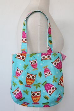 Rounded Purse Tote Bag  Bright Blue Owl by boojibootique on Etsy, $15.75