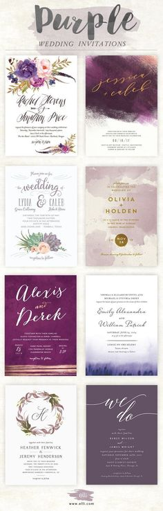 Gorgeous wedding invitations in shades of purple at Elli.com
