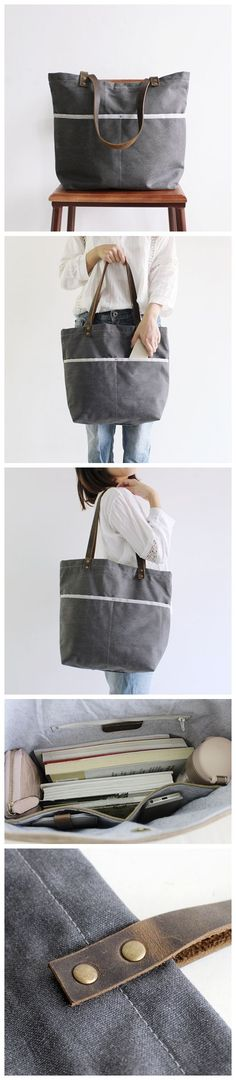 Handcrafted Canvas Tote Bag Women's Fashion Bag Shopping Bag 14043 --------------------------------- - 16oz waxed canvas - Cotton lining - Inside one zipper pocket, one phone pocket, one wallet pocket