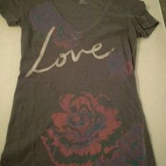 AE t shirt Greg purple pink flowers American Eagle Outfitters Tops Tees - Short Sleeve