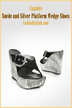 Casadei - $839.00 - Suede and Silver Platform Wedge Shoes... http://ladiesstylish.com/go/designers/Casadei/Shoes.html #LadiesStylish #Designers #Shoes