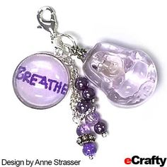 "Buddha Breathe Aromatherapy Charm eCrafty.com Anne created this aromatherapy charm when she found herself hyperventilating  about the upcoming holidays! She had our friend Tracy write the reminder to ""breathe"" and mounted that in our new 18mm charm bezel base kit.  Then she filled a glass #buddha #mini bottle with lavender essential oil and added a few #sparkle beads and #pearl dangles. #breathe #buddha #charm #bezel #diy #ecrafty #crafts Balloon Crafts, Balloons, Air Balloon, Craft Projects, Craft Ideas, Stress Relief, Aromatherapy, Dangles, Lavender"