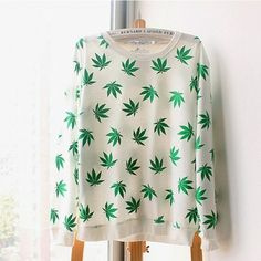 New Women Men Hemp Leaf Pullover Sweatshirts Loose Long Sleeve Hoodies Outerwear Tops