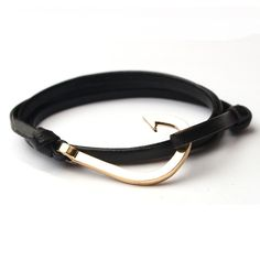 Trendy Jewelry Women and Men Charm Bracelets Anchor Leather Bracelet Gift for Lovers Rope Chain Easy-hook KJL059 - 1