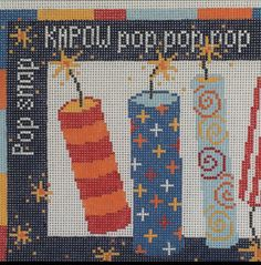 Pippin needlepoint firecrackers