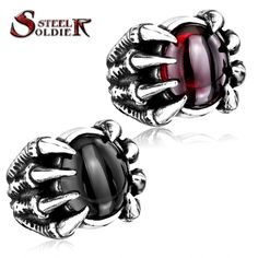 steel soldier High Qiuality Heavy Metal Dragon Claw Ring CZ zircon Exaggerated Personality Jewelry free shipping BR8-046