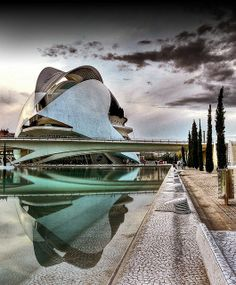 """ City of Arts and Sciences, Valencia, Spain, by Santiago Calatrava Via: Futuristic Architecture, Beautiful Architecture, Contemporary Architecture, Art And Architecture, Architecture Details, Santiago Calatrava, Unique Buildings, Amazing Buildings, Stairs"
