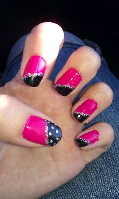 Hot pink and black nails   # Pin++ for Pinterest #