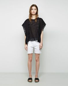 $97, Etoile Isabel Marant Isabel Marant Toile Newton Denim Shorts. Sold by La Garçonne. Click for more info: https://lookastic.com/women/shop_items/233381/redirect