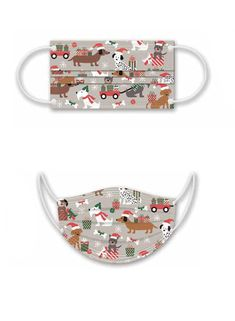 Dogs w/ Gifts Disposable Mask by Punch Studio • Soft 3-ply Non Woven Fabric • Adjustable Nose Bridge • Adjustable Elastic Ear Loops • Packaged in a Clear Box with Flip-up Butterfly Hook • Set of 10 of the Same Design Ear Loop, Woven Fabric, Punch, Dog Lovers, Bridge, Butterfly, Studio, Box, Gifts