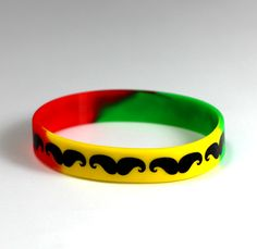 MOUSTACHE BEARD silicone wristbands bracelets RAINBOW - $2.99 USD