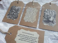 Alice in Wonderland vintage book-fragment gift tags by Scrollbeads on Etsy <3