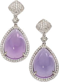 Amethyst, Diamond, White Gold Earrings, Eli Frei The earrings feature pear-shaped amethyst cabochons measuring 15.05 x 11.00 x 6.40 mm and 14.85 x 11.00 x 6.40 mm and weighing a total of approximately 12.55 carats, enhanced by full-cut diamonds weighing a total of approximately 1.00 carat, set in 18k white gold, marked Frei. Gross weight 9.10 grams. Dimensions: 1-1/4 inches x 9/16 inch *Note: earrings are designed for pierced ears
