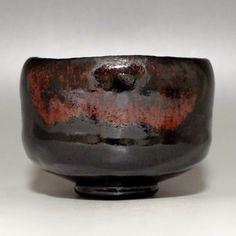 Moderner schwarzer japanischer RAKU CHAWAN signiert Keramik Teezeremonie Bowl #1840