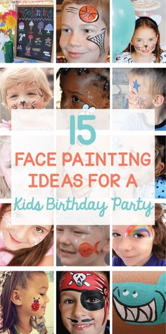 15 Face Painting Kids Birthday Party Ideas on is part of Kids Crafts Paint Birthday Parties - Get ready to celebrate with these 15 Face Painting Kids Birthday Party ideas that are simple enough for beginners Ideas for a shark, ice cream, cat & more! Face Paint Party, Diy Face Paint, Body Paint, Diy For Kids, Crafts For Kids, Diy Crafts, Diy Party, Party Ideas, Luau Party