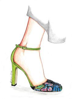 Valentino, fashion sketch, fashion illustration, Mary jane, watwercolor, draw, drawing, bozzetto, fashion blog, fashion blogger