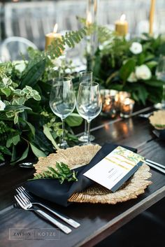 . Black and white wedding, green and white wedding, gold candles, glass marquee