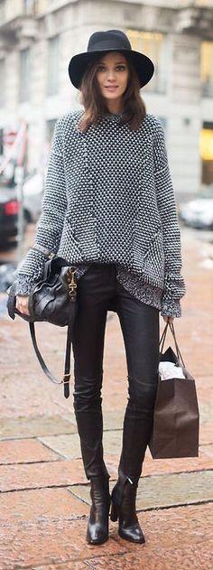 #street #fashion fall pattern knit b&w @wachabuy