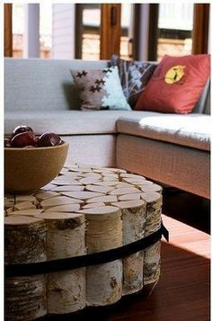 "Coffee table made of logs. Great for an ""up north"" cottage.   #furniture #DIYhacks"