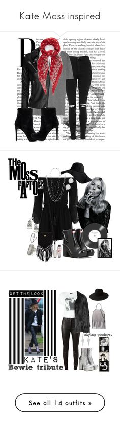"""""""Kate Moss inspired"""" by xmoonagedaydreamx ❤ liked on Polyvore featuring Topshop, T By Alexander Wang, IRO, Yves Saint Laurent, Sam Edelman, rock, scarf, KateMoss, chick and David Yurman"""