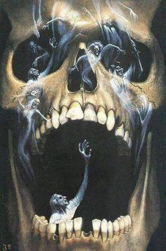 Jim Thiesen - The Screaming Skull Skull Artwork, Skull Painting, Skull Tattoo Design, Skull Tattoos, Arte Horror, Horror Art, Screaming Skull, Grim Reaper Art, Totenkopf Tattoos