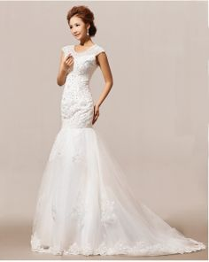 New Arrival 2014 Women Ladies Fashion Trends Elegant Mermaid Lace White Wedding Dresses $78.99 - 83.99