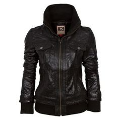 d5955dd1 IL2L Women's Leather Bomber Jacket with a Deep Knitted Collar Funky  Fashion, Thrift Fashion,