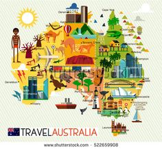 map of the australia and travel icons