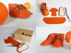 First Baby Shoes Kits in Bright Orange! A unique gift for new and expectant mothers from @Petronela Rosca Nedeljkovic