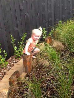 Garden edging that doubles as a balance beam