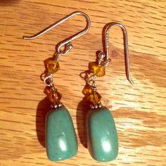 Silpada Earrings Silpada sterling silver turquoise golden glass earrings. Silpada Jewelry Earrings