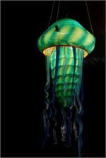Suspension Lamp Hand Blown Glass Jelly Fish Aquarium by artist Rick Strini