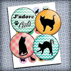 """Cats 1 inch images, 25mm, 1.313"""", 1.5"""" Cat Silhouettes Round Printable Images for Buttons, Bottle caps Pendants Digital Collage Sheet"""
