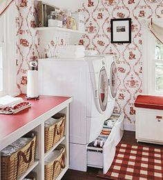 Red & white retro wallpaper+ red & white checked carpet = HEAVEN (Even if it is a laundry room!)