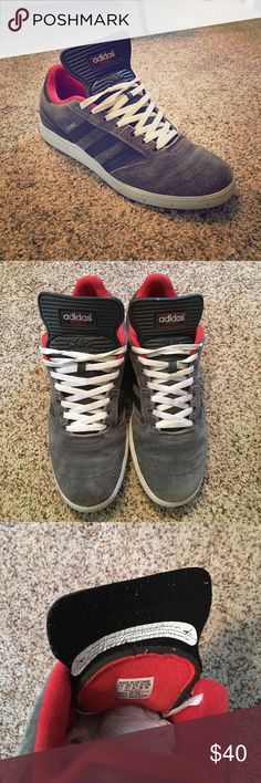 Adidas men's size 11 BUSENITZ skate sneaker Size 11. Barely worn. Grey, white, red , dark grey. Laces included. adidas Shoes Sneakers