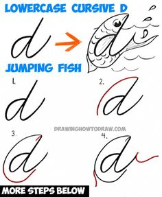 How to Draw Cartoon Jumping Fish from a Cursive Lowercase Letter d Shape - Tutorial for Kids