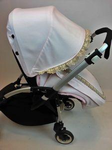 Saco y capota para silla Bee3 en rosa y puntilla.