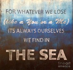 In The Sea Painting - Beach Quote - by Jennifer Staten