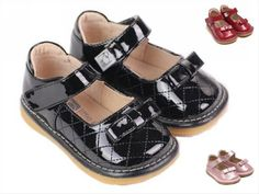 Amazon.com: Girl Squeaky/Dress Shoes, Black/Red/Pink, Stitching-pattern, Removable Squeaker (Toddler/kid/children): Shoes