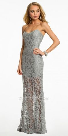 Atria Strapless Floral Lace Illusion Skirt Evening Dresses on shopstyle.com