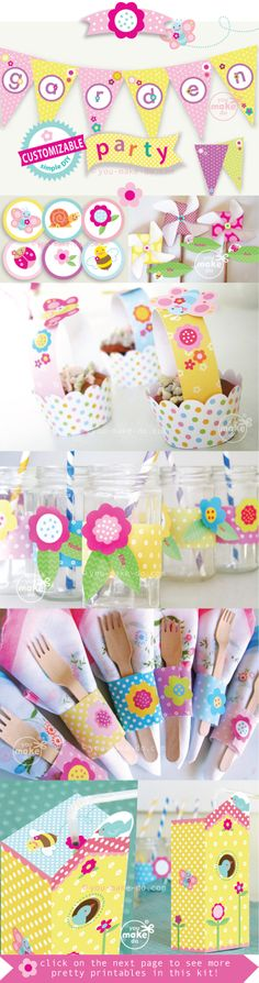 BUTTERFLY PARTY, GARDEN PARTY, FLOWER PARTY or BUG PARTY! Pretty party printables to make a garden party birthday, a garden baby shower, or a 1st birthday flower party! This party printable kit is filled with so many printables to make! Some of the printables are even CUSTOMIZABLE—add messages and names to your customizable party printables yourself! Only half of this kit is shown here—visit to see the other party printables in this pretty party kit. | you make do® |