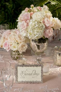 white and pale pink Flowers in mercury vases - table flowers - romantic wedding flowers #weddingflowers