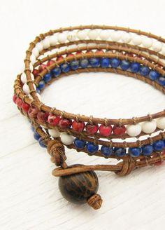 Patriotic Leather Wrap Bracelet / Red White Blue Jasper